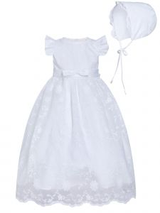 Rainkids Baby Girls White Ruffled Sleeves Bow Bonnet Christening Gown 0-3