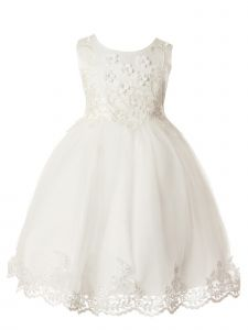 Rain Kids Little Girls White Floral Bodice Applique Special Occasion Dress 3-6