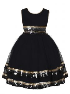 Rain Kids Big Girls Black Gold Sequin Trim Special Occasion Dress 8-10