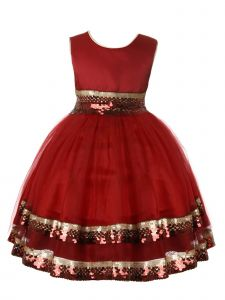 Rain Kids Little Girls Burgundy Gold Sequin Trim Special Occasion Dress 3-6