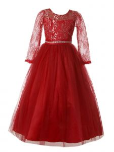 Rain Kids Little Girls Burgundy Lace Floor Tulle Special Occasion Dress 4-6
