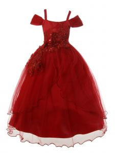Rain Kids Big Girls Burgundy Off-Shoulder 3D Flower Christmas Dress 8-14