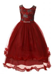 Rain Kids Girls Multi Color Rhinestone Long Tulle Christmas Dress 3-12