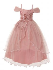 Rain Kids Big Girls Dusty Pink Off-Shoulder Flower Junior Bridesmaid Dress 8-14