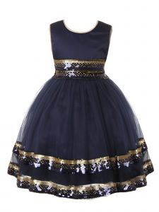 Rain Kids Big Girls Navy Gold Sequin Trim Special Occasion Dress 8-10
