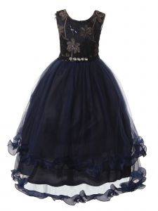 Rain Kids Big Girls Navy Rhinestone Applique Long Tulle Christmas Dress 8-12