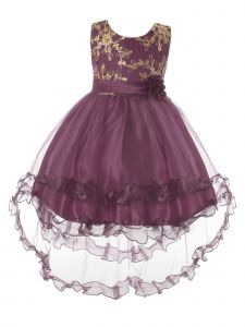 Rain Kids Little Girls Purple Gold Floral Applique Hi-Low Christmas Dress 3-6