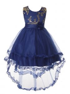Rain Kids Little Girls Royal Blue Gold Floral Applique Hi-Low Christmas Dress 3-6