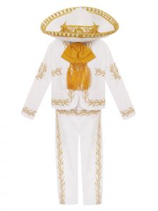 Rain Kids Baby Boys White Gold Charro 6pc Formal Suit Hat Set 6M-12M