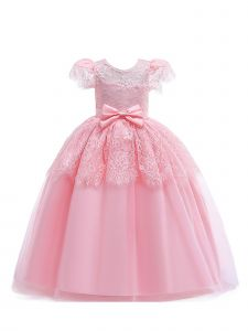 Little Girls Blush Pearls Tulle Embroidered Flower Girl Princess Dress 6