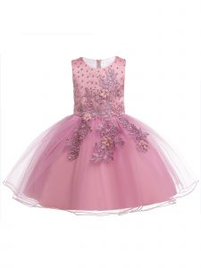 Little Girls Dusty Pink Pearls Tulle Embroidered Flower Girl Easter Dress 3