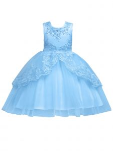 Rainkids Little Girls Sky Blue Embroidered Applique Hi-Low Flower Girl Dress 3-6