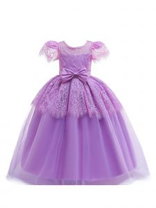 Big Girls Lilac Lace Bow Short Sleeve Junior Bridesmaid Princess Dress 14
