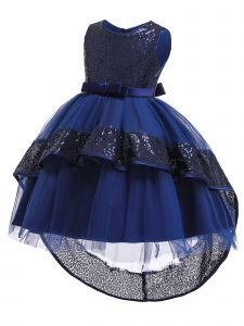 Rainkids Little Girls Navy Sequin Bow Tulle Hi-Low Flower Girl Dress 3-6