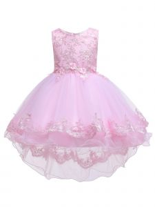 Rainkids Big Girls Pink Lace Hi Low Junior Bridesmaid Easter Dress 8-12