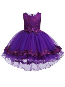 Rainkids Big Girls Purple Lace Hi Low Junior Bridesmaid Easter Dress 8-12