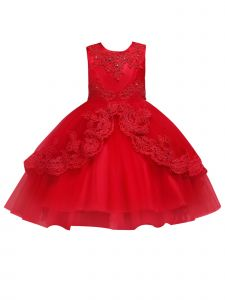 Rainkids Little Girls Red Embroidered Applique Hi-Low Flower Girl Dress 3-6