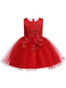 Little Girls Red Pearls Tulle Embroidered Flower Girl Easter Dress 4