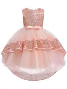 Rainkids Little Girls Rose Sequin Bow Tulle Hi-Low Flower Girl Dress 3-6