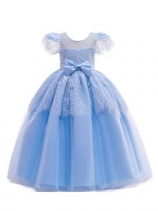 Big Girls Sky Blue Lace Bow Short Sleeve Junior Bridesmaid Princess Dress 8