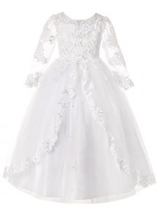 Rainkids Girls White Long Sleeve Lace Sequins Plus Size Communion Dress 7.5-16.5