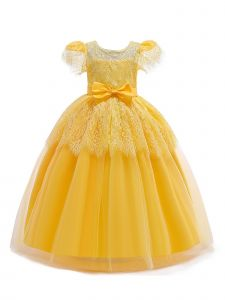 Rainkids Little Girls Yellow Ivory Lace Bow Flower Girl Easter Dress 4-6