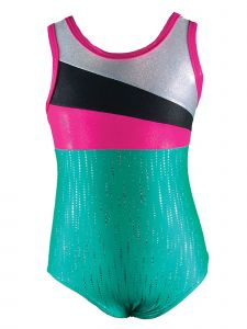 Reflectionz Little Girls Mint Fuchsia Black Leotard 4-6
