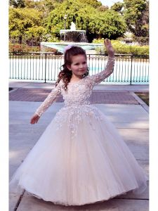 TriumphDress Big Girls Pink 3D Lace Tulle Train Riana Flower Girl Dress 6/7