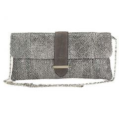 Aryana Chic Black Grey Tweed Chain Strap Clutch Style Womens Purse