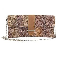 Aryana Chic Neutral Tan Tweed Chain Strap Clutch Style Womens Purse