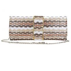 Aryana Sage Brown Multi Printed Chain Strap Clutch Style Womens Purse