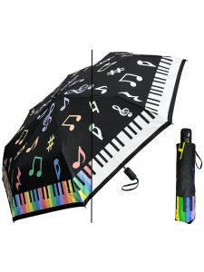 "Rainstoppers Women Black Multi Color Changing Piano 44"" Auto Open Umbrella"