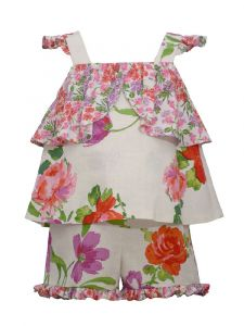 Bonnie Jean Baby Girls Red Floral Print Ruffled Outfit 12M-24M