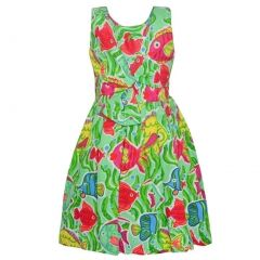 Bonnie Jean Little Girls Aqua Green Aquatic Fish Print Tea-Length Dress 2-4T