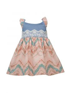 Bonnie Jean Little Girls Peach Sleeveless Chambray Chevron Print Sundress 2T-4T