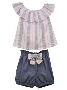 Bonnie Jean Little Girls Blue Striped Ruffle Smocked Bubble Shorts Outfit 2T-6X