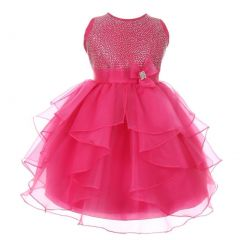 Girls Fuchsia Glitter Brooch Cascade Ruffle Elegant Flower Girl Dress 6-10