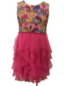 Caeli Kids Little Girls Fuchsia Sleeveles Chenille Embroidered Ruffle Dress 4-6X