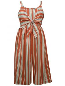 Bonnie Jean Big Girls Rust Woven Stripe Tie Gaucho Jumpsuit 7-16
