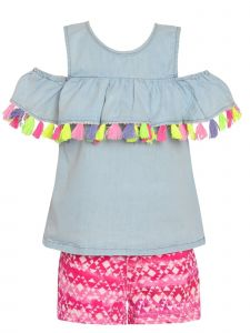 Little Girls Blue Pink Cold-Shoulder Tassel Top Motif 2 Pc Shorts Outfit 2T-6X