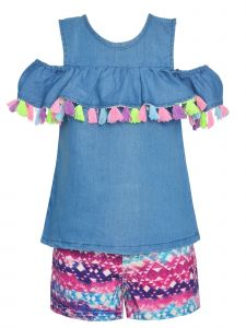 Little Girls Blue Pink Mix Cold-Shoulder Tassel Top 2 Pc Shorts Outfit 2T-6X
