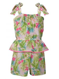 Bonnie Jean Big Girls Pink Tropical Print Pom Pom Trim Peplum Romper 7-16