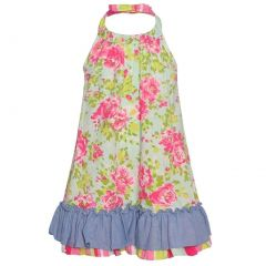 Bonnie Jean Little Girls Pink Rose Print Ruffle Trim Halter Casual Dress 2T-6X