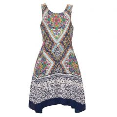 Tween Diva Big Girls Blue Art Deco Motif Print Panel Sleeveless Dress 7-14