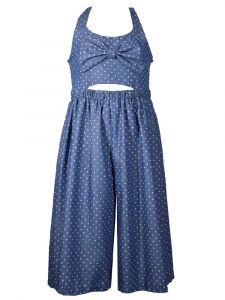 Bonnie Jean Big Girls Denim Dots Peek-A-Boo Gaucho Bow Smocked Jumpsuit 7-16