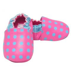 juDanzy Little Girls Hot Pink Turquoise Precious Polka Dot Shoes 5-6 Toddler