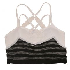 Big Girls Black Gray Melange Stripe White Lace Strap 2 Pc Cami Bra Set 8-16