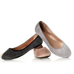 Sweetie's Shoes Silver Studded Sally Special Occasion Flats 5.5-11 Womens