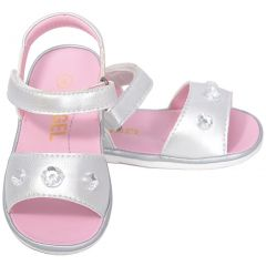 Angel Silver Jeweled Strap Sandals Baby Girls 1-Toddler Girls 7