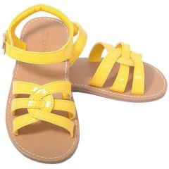 L'Amour Patent Yellow Woven Strap Summer Sandals Little Girls 11-4